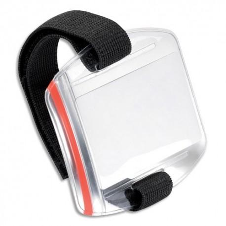 DURABLE Boîte de 10 Brassards porte-badge transparent plastique souple, ajustable par scratch 7 à 18 cm