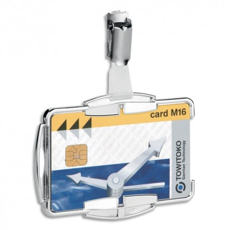 DURABLE Boîte de 10 Portes-cartes Anti RFIB Mono transparent, rigide, clip métallique L8,7 x H5,4 cm
