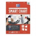 OXFORD Paquet de 20 feuilles Smart Chart blanches unies, adhésif au dos, repositionnable, L60 x H80 cm