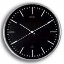 MAUL Horloge murale MaulFly fond Noire, cadran aluminium brossé, radiopilotée, 1 pile AA fournie - D30 cm