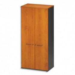 GAUTIER OFFICE Armoire 2 portes pleines Jazz Aulne gris anthracite - Dimensions : L80 x H183 x P48 cm