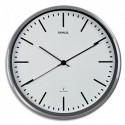 MAUL Horloge murale MaulFly fond Blanche, cadran aluminium brossé, radiopilotée, 1 pile AA fournie D30 cm