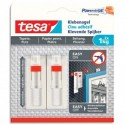 TESA Boîte de 2 Clous adhésifs ajustables pour papier peint et plâtre, charge 1 kg, L1,3 x H14 x P1,4 cm