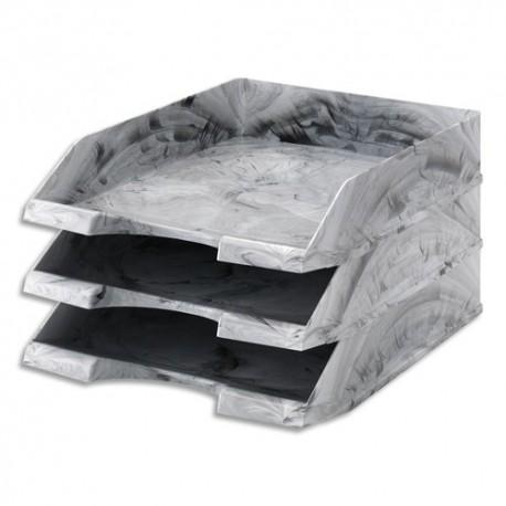 JALEMA Corbeille à courrier aspect marbre Gris clair, Dimensions : L25,6 x H6,5 x P34,9 cm