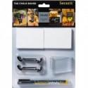 SECURIT Kit TAG 6 supports pour ardoise 4 pics + 2 socles, double-face, livré avec un feutre craie