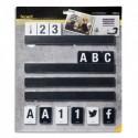 SECURIT Support 4 étagères L25 cm + 169 lettres + nombres, en bois Noir