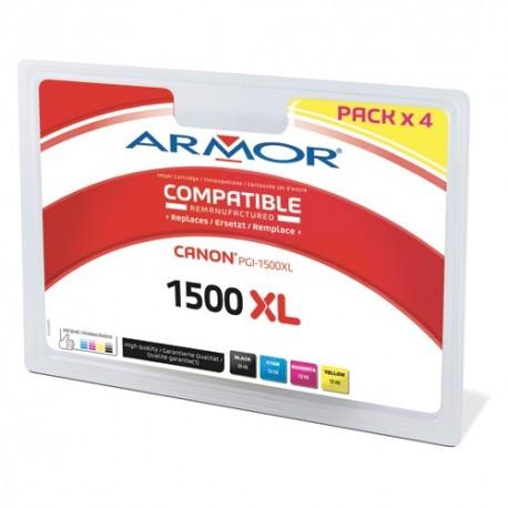 ARMOR Cartouche pack de 4 couleurs jet d'encre reman pour CANON PGI-1500XL B10404R1
