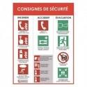 """VISO Panneau """"Consigne de sécurité"""" incendie accident évacuation, blanc rouge en PVC, L30 x H40 x P0,2 cm"""