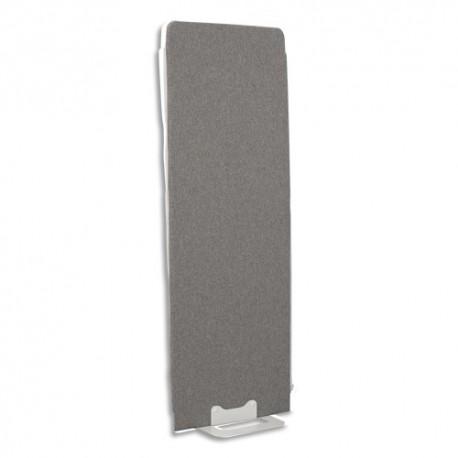 GAUTIER OFFICE Cloison de séparation en textile Gris chiné, socle en acier laqué blanc L60 x H170 x P3 cm