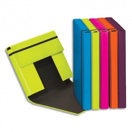 DURABLE Lot 6 boîtes classement Trend carte 23/10e. Dos 3,5cm. Assortis bleu,vert,rose,orange,violet
