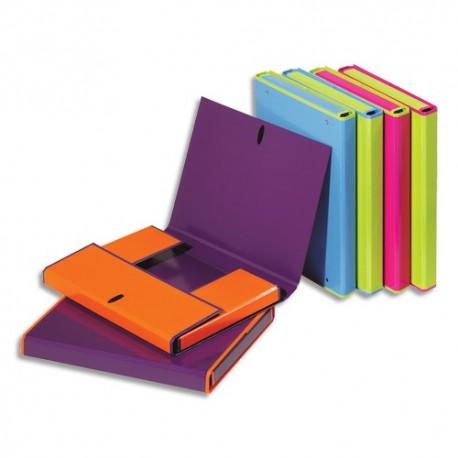 DURABLE Lot 6 boîtes classement Bicolore carte 23/10e. Dos 3,3cm. Assortis bleu,vert,rose,orange,violet
