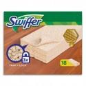 SWIFFER Boîte de 18 Lingettes sèches dépoussiérantes spécial Bois et parquets pour balai Swiffer