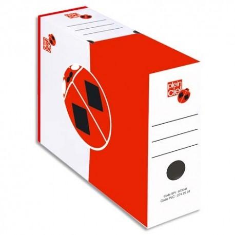 PLEIN CIEL Paquet de 10 boîtes à archives dos 10 cm, montage automatique. Carton blanc liseret rouge.
