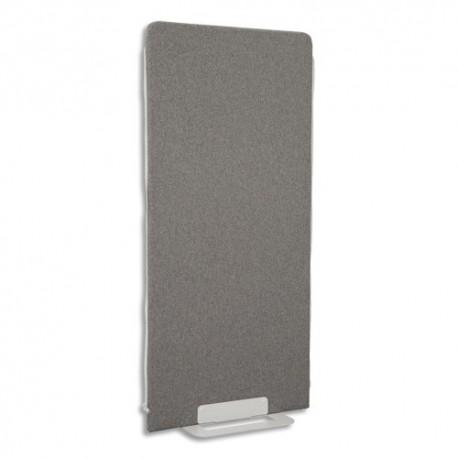 GAUTIER OFFICE Cloison de séparation en textile Gris chiné, socle en acier laqué blanc L80 x H170 x P3 cm