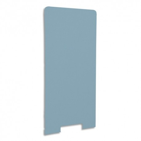 GAUTIER OFFICE Cloison de séparation en textile Bleu azur, socle en acier laqué blanc L80 x H170 x P3 cm