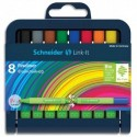 SCHNEIDER Etui chevalet de 8 stylos FINELINER LINTK-IT. Pointe nylon 0,4mm. Assortis. - Assortis