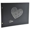 EXACOMPTA Album photos à vis HARMONY. Capacité 160 photos, pages noires. 37x29 cm, noir et cœur argent