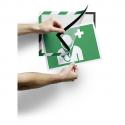 DURABLE Cadre d'affichage Duraframe dos adhésif Security A4.L25xH37,5xP0,3cm vert blanc pour évacuation,secours