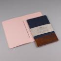 PAPETTE Carnet piqûre HOT COPPER, carte bleue 250g, 50 pages rose clair lignées 110g. 14,9x21cm