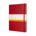 MOLESKINE Carnet 192 pages ligné Très Grand Format 19x25cm. Couverture rigide rouge écarlate