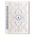 PAPETTE Carnet BIBLIO carte blanche 300g reliure intégrale, 100 pages 115g : 6x6 + page uni. 13,5x19,5mm
