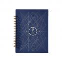PAPETTE Carnet BIBLIO carte bleue 300g reliure intégrale, 100 pages 115g : 6x6 + page uni. 13,5x19,5mm
