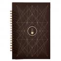 PAPETTE Carnet BIBLIO carte marron 300g reliure intégrale, 100 pages 115g : 6x6 + page uni. 13,5x19,5mm