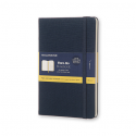 MOLESKINE Carnet Two-Go 144 pages unie et ligné format Medium (11,5x18). Couverture rigide bleu oriental