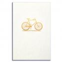 PAPETTE Carte de vœux GOLD Vélo, carte 800g deux faces tranche bleu + enveloppe kraft. 115 x 165mm