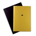 PAPETTE Carte de vœux GOLDEN YEARS Heart, carte dorée 230g quatres faces + env noire. 115 x 165mm