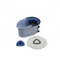 VILEDA Essoreur UltraSpin Mini starterkit bleu clair 6L + Manche téléscopique L80 à 140 cm inox noir