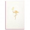 PAPETTE Carte de vœux GOLD Flamant rose, carte 800g deux faces tranche rose fluo + env kraft. 115 x 165mm