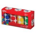 AGIPA Lot de 4 rouleaux de gommettes rondes diamètre 33mm, couleur bleu, rouge, jaune, vert