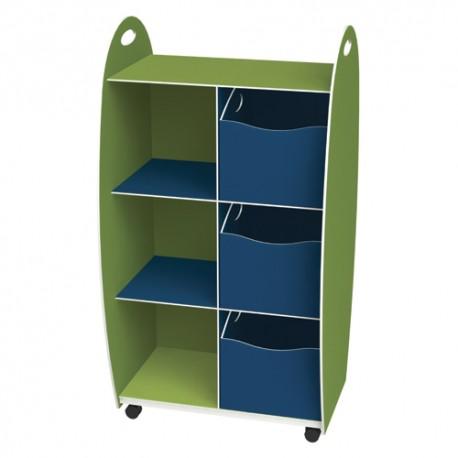 PAPERFLOW Meuble haut 2 étagères 3 tiroirs anis bleu livré monté