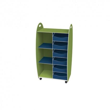 PAPERFLOW Meuble haut 2 étagères 6 tiroirs anis bleu livré monté