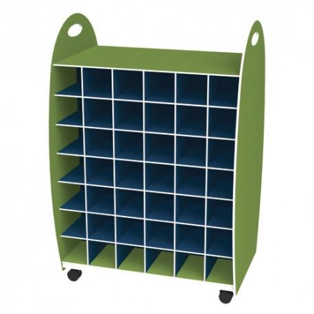 PAPERFLOW Meuble range serviettes double entrée 84 cases anis bleu livré monté