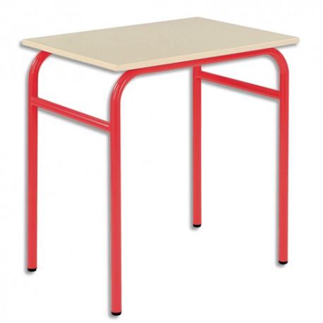 SODEMATUB Lot de 4 tables scolaires monoplace, hêtre , rouge - Dimensions : L70 x H74 x P50 cm, taille 3