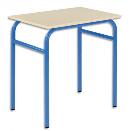 SODEMATUB Lot de 4 tables scolaires monoplace, hêtre , bleu - Dimensions : L70 x H74 x P50 cm, taille 3