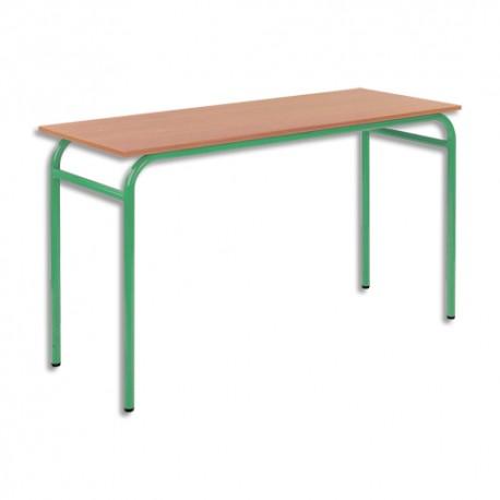 SODEMATUB Lot de 4 tables scolaires biplace, hêtre , vert - Dimensions : L130 x H74 x P50 cm, taille 3