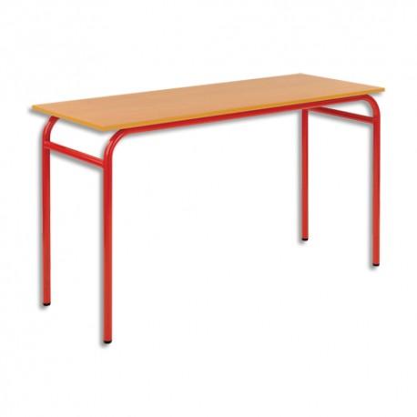 SODEMATUB Lot de 4 tables scolaires biplace, hêtre , rouge - Dimensions : L130 x H74 x P50 cm, taille 3