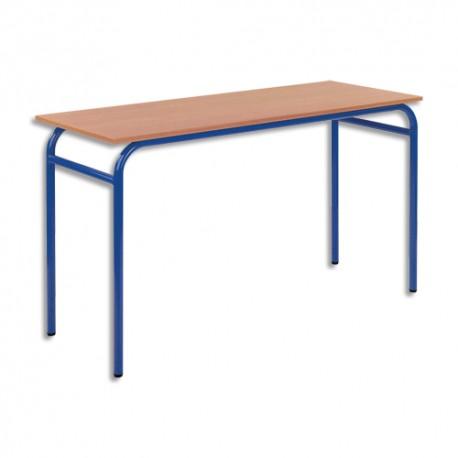 SODEMATUB Lot de 4 tables scolaires biplace, hêtre , bleu - Dimensions : L130 x H74 x P50 cm, taille 3