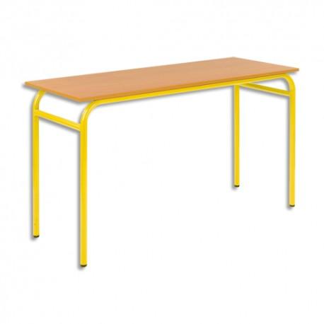 SODEMATUB Lot de 4 tables scolaires biplace, hêtre , jaune - Dimensions : L130 x H74 x P50 cm, taille 3