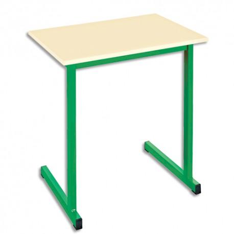 SODEMATUB Table scolaire monoplace, hêtre , vert - Dimensions : L70 x H74 x P50 cm, taille 3