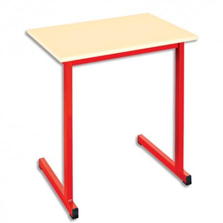 SODEMATUB Table scolaire monoplace, hêtre , rouge - Dimensions : L70 x H74 x P50 cm, taille 3