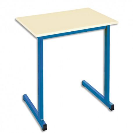 SODEMATUB Table scolaire monoplace, hêtre , bleu - Dimensions : L70 x H74 x P50 cm, taille 3