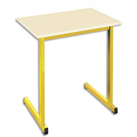 SODEMATUB Table scolaire monoplace, hêtre , jaune - Dimensions : L70 x H74 x P50 cm, taille 3