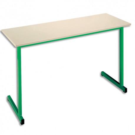 SODEMATUB Table scolaire biplace, hêtre , vert - Dimensions : L130 x H74 x P50 cm, taille 3