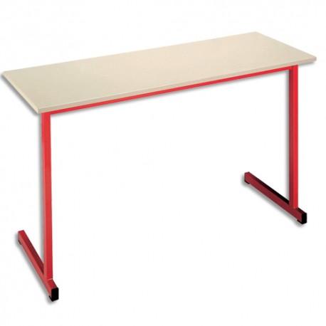 SODEMATUB Table scolaire biplace, hêtre , rouge - Dimensions : L130 x H74 x P50 cm, taille 3