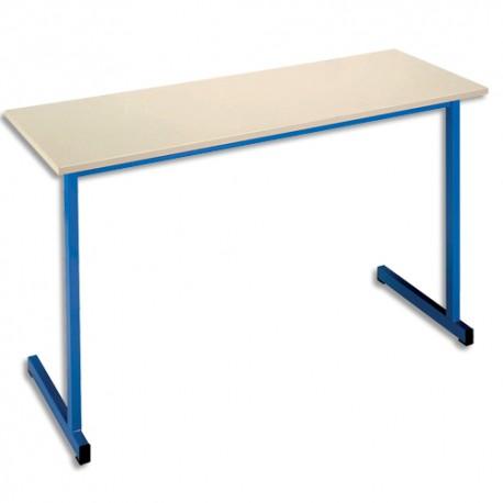 SODEMATUB Table scolaire biplace, hêtre , bleu - Dimensions : L130 x H74 x P50 cm, taille 3