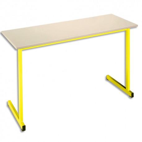 SODEMATUB Table scolaire biplace, hêtre , jaune - Dimensions : L130 x H74 x P50 cm, taille 3